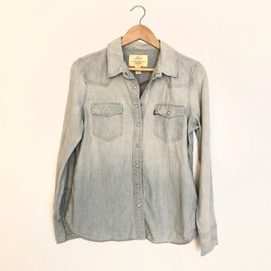 Levi's Chambray Long Sleeve Button Clasp Blouse L